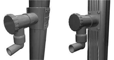 Tuyaux de descentes rond et carré sur lesquels sont installés les collecteurs d'eau adapté à la forme de la gouttière
