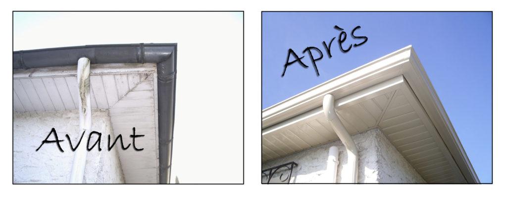 comparaison entre une maison avant les travaux et une après.