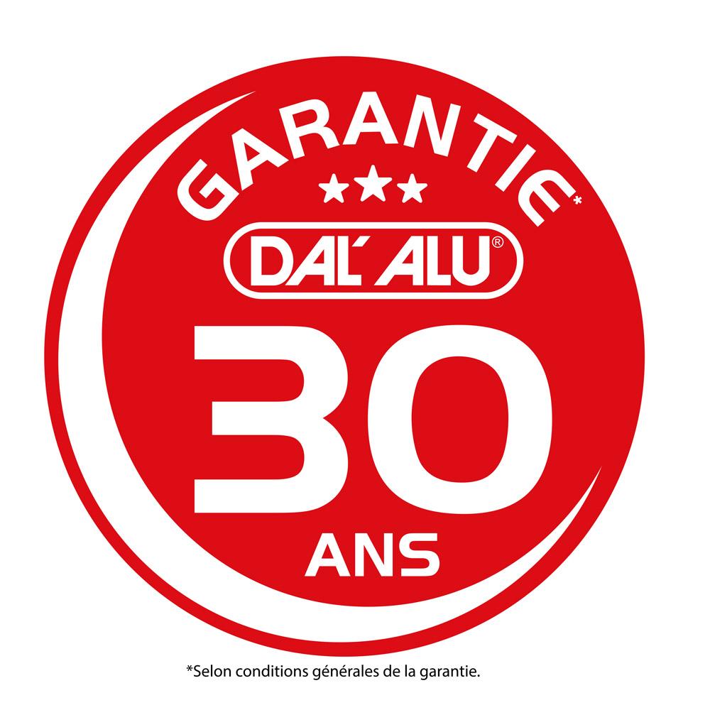 Logo de la garantie 30 ans sur les gouttières alu et les produits Dal'Alu.